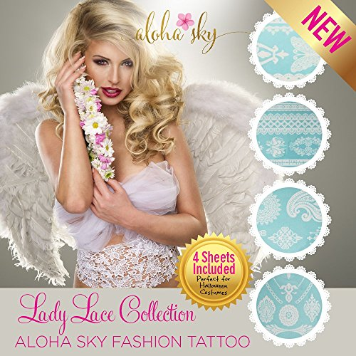 Aloha Sky Lady Lace White Temporary Tattoo | Perfect as wedding favor...