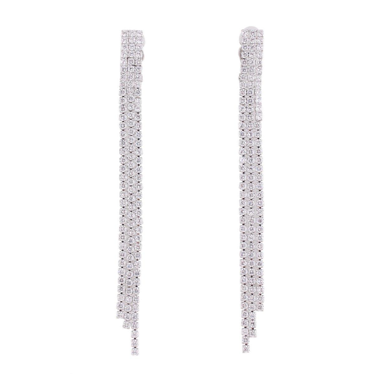 Grace Jun Bridal AAA CZ Tassel Clip on Earrings No Pierced for Women Party Wedding Gorgeous Earrings