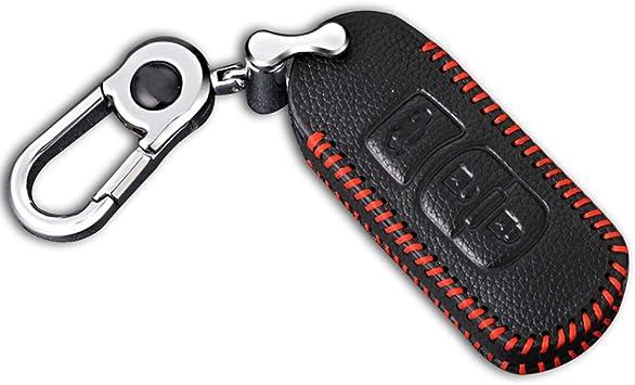 Cobear Schlüssel Hülle Leder Auto Schlüsseltasche Mit Schlüsselanhänger Für 3 Tasten Keyless Go Fernbedienung Autoschlüssel Rotes Nähen 1 Stück Auto