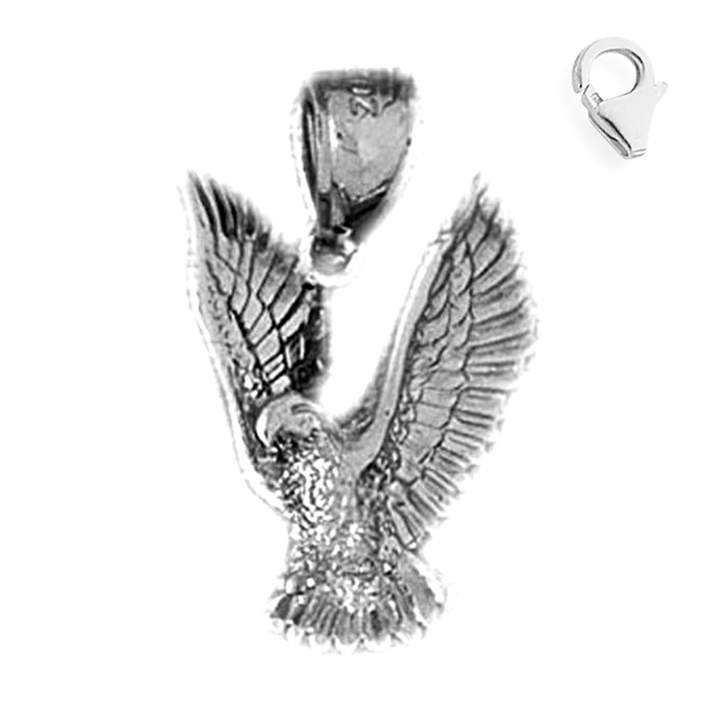 Jewels Obsession Eagle Pendant Sterling Silver 23mm Eagle with 7.5 Charm Bracelet