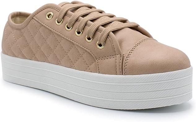 Breckelles Cyber-06 Champaine Metallic Quilted Cap Toe Flatform Sneaker