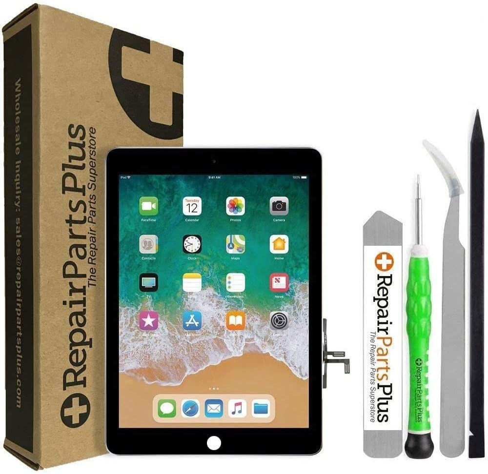 RepairPartsPlus iPad 5 2017 Screen Replacement LCD and Glass Touch Digitizer Premium Kit (Black)