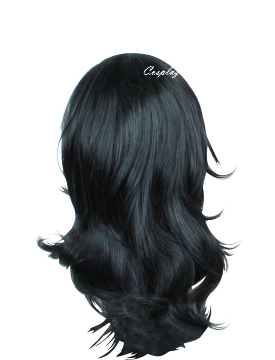 COSPLAZA Cosplay Wigs Mid-Length Curly Black Male Men Hero Tutor Anime Comic Cons Costume Hairs by COSPLAZA (Image #2)
