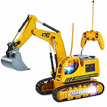 Amazon Com Remote Control Excavator Toy For Toddlers 8ch 2 4g Rc