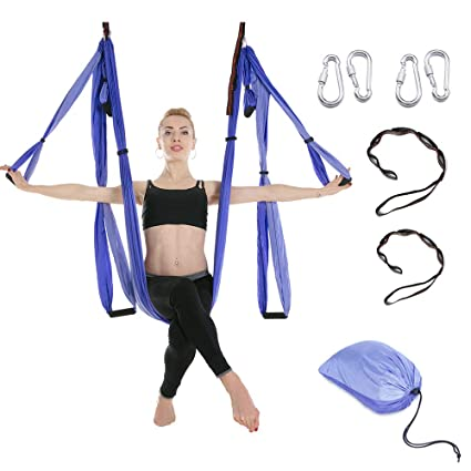 Smvison Aerial Yoga Swing, Yoga Hammock Trapeze Sling Antigravity Yoga Swing Kit for Gym Home Fitness Yoga Inversion Exercises