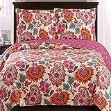 Modern Coverlet Quilt Shams Set Floral Paisley Print Pattern Orange Hot Pink Pink King/Cal King Size Lightweight Reversible Wrinkle Free Hypoallergenic Oversized 3 Piece Teen Girls Bedding