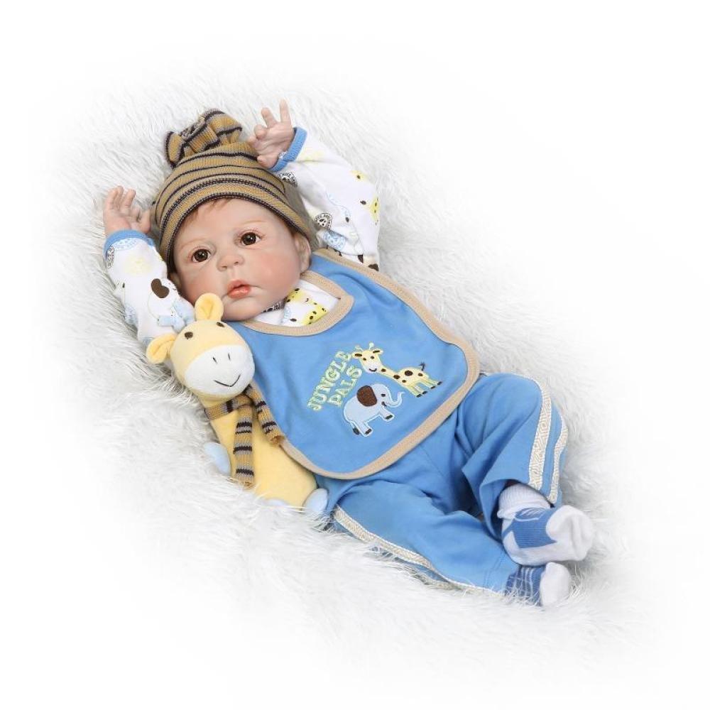 QXmEi 22インチRebirthソフトシリコン57 cm磁気口リアルな少年ブルーToy Rebirth人形   B07DN5X9NN