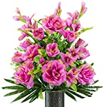 Rubys-Silk-Flowers-Fuchsia-Gladiolus-and-Rose-Mix-Artificial-Bouquet-Featuring-The-Stay-in-The-Vase-Designc-Flower-Holder-SM2180