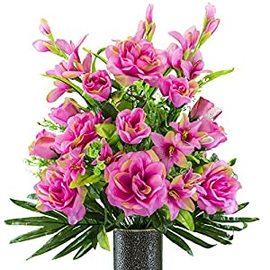 Fuchsia Gladiolus and Rose Mix Artificial Bouquet, featuring the Stay-In-The-Vase Design(c) Flower Holder (SM2180) 9