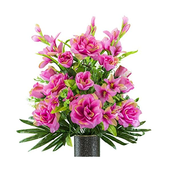 Fuchsia-Gladiolus-and-Rose-Mix-Artificial-Bouquet-featuring-the-Stay-In-The-Vase-Designc-Flower-Holder-SM2180