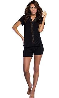 6f8fb5d2e5 Women s Sleepwear Lightweight Super Soft Bamboo Short Lace Trim Pajama Set  - Made in Turkey