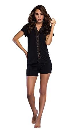 6808a8d322 Women s Sleepwear Lightweight Super Soft Bamboo Short Lace Trim Pajama Set  - Made in Turkey (