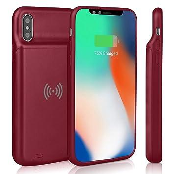 Epuirie - Funda de batería para iPhone X/XS, batería Recargable de 3600 mAh, Cargador de batería Externo, Carcasa para batería de Reserva Rosso