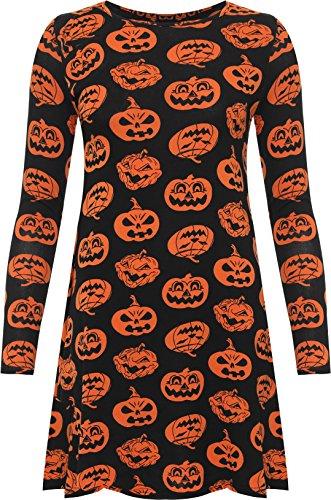 WEARALL Women's Plus Long Sleeve Halloween Pumpkin Print Flared Fancy Swing Dress - Orange - US 12-14 (UK 16-18)