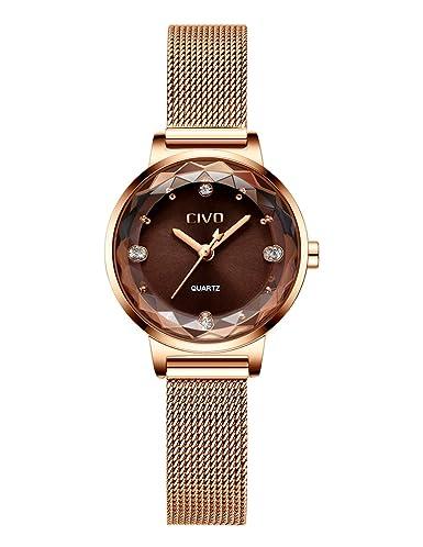 729553cdce48a CIVO Montres Femmes Or Rose Silm Acier Inoxydable Montre Bracelet à Quartz  Analogique Etanche Mode Simple