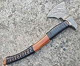 Ottoza Custom Handmade Damascus Tomahawk Axe 17.5 inch - Damascus Axe - Survival Axe - Camping Axe - Battle Axe - Damascus Steel Axe - Viking Axe with Sheath No:81