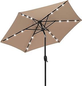 Best Choice Products 7.5ft Outdoor Solar Market Table Patio Umbrella for Deck, Pool w/Tilt, Crank, LED Lights - Tan