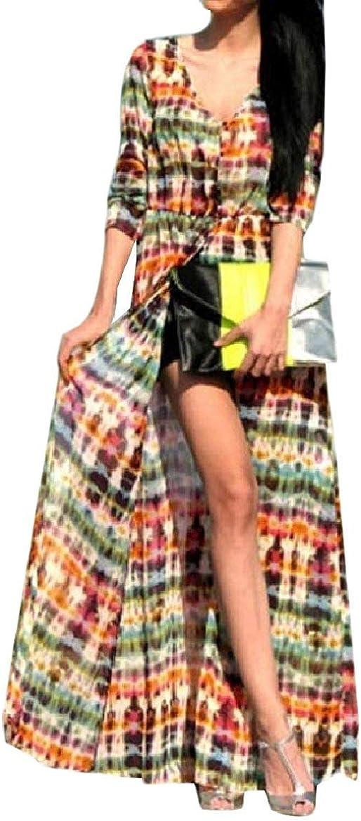 Hadudu Women Chiffon V-Neck Long-Sleeve Tie-Dye Full Length Dress