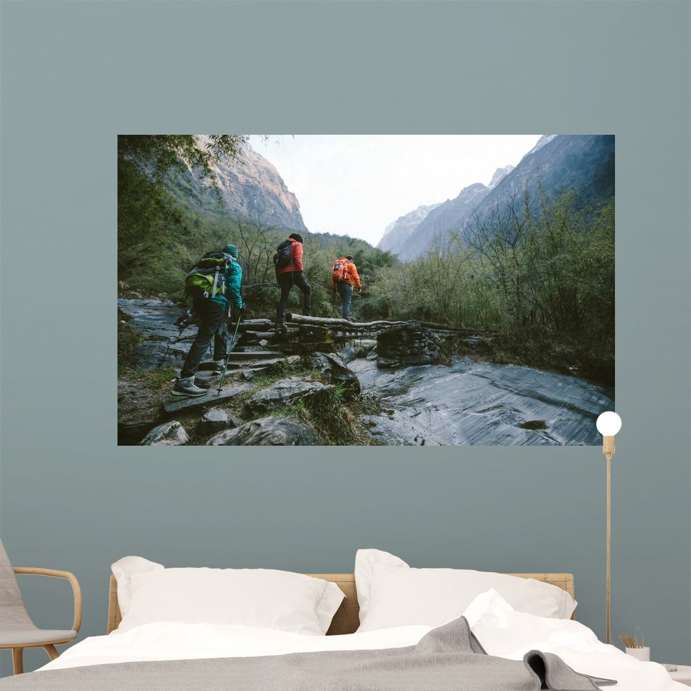 Amazon.com: Wallmonkeys Group Trekkers Cross Bridge Wall Mural Peel ...