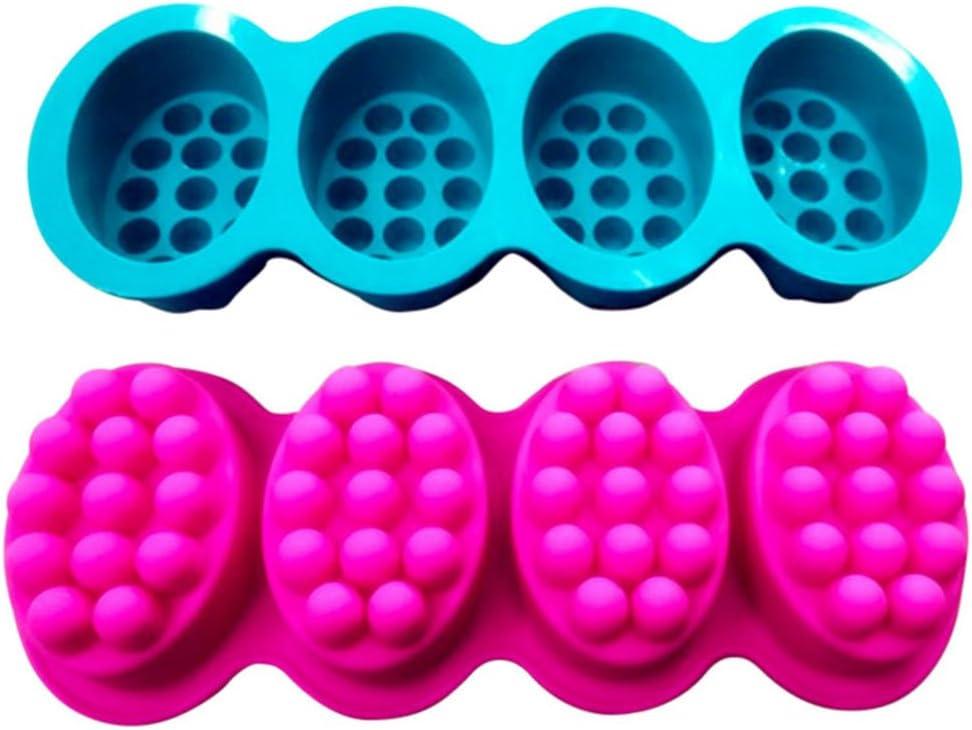 Stampo in silicone per sapone a 4 cavit/à forma di pennello per massaggio stampo per torte aromaterapia cera