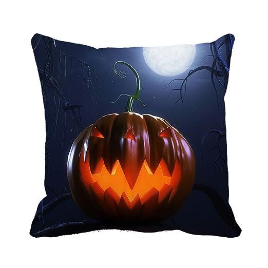 warrantyll Halloween luz verde casa algodón cojín cuadrado ...