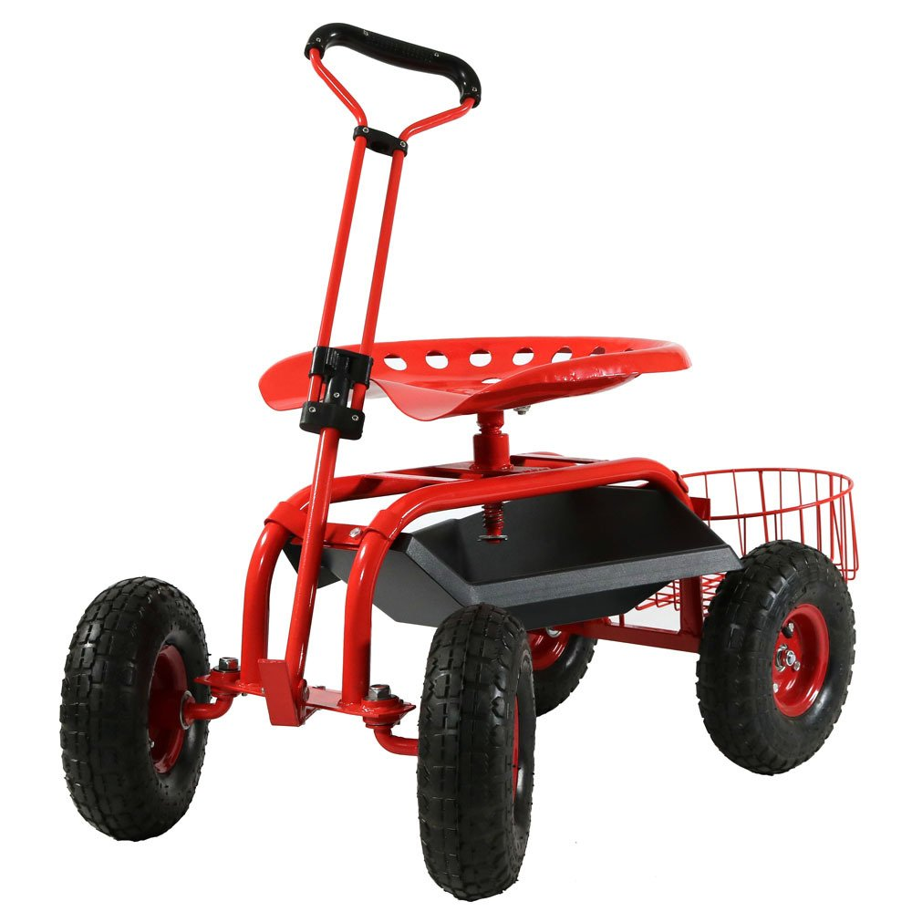 Sunnydaze Garden Cart Rolling Scooter with Extendable Steer Handle, Swivel Seat & Utility Tool Tray, Red by Sunnydaze Decor