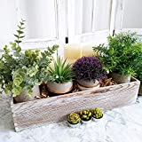 """1 Pcs Wood Planter Box Rectangle Whitewashed Wooden Rectangular Planter Decorative Rustic Wooden Box with Inner Plastic Box - 17.3"""" L x 3.9"""" W x 3.9"""" H Floral Natural Centerpieces Rustic Wedding Decor"""