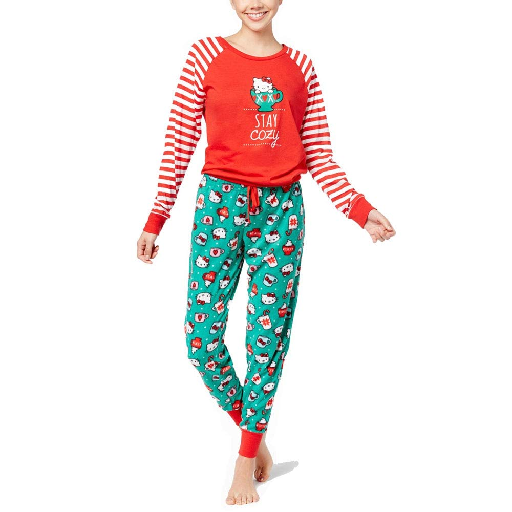 Hello Kitty Women's Holiday Stay Cozy 2pc PJ Set, Red, Small