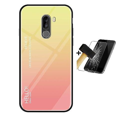 PANXIYUE Funda Xiaomi Pocophone F1,Carcasas de Vidrio en Color Degradado para Xiaomi Pocophone F1