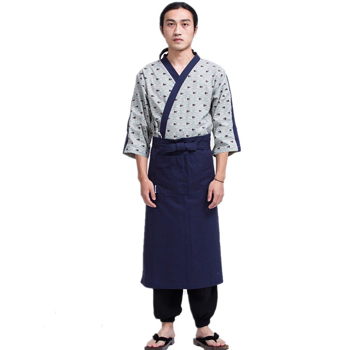 XINFU Sushi Waiter Green Fish 3/4 Long Sleeve Restaurant Japanese Kimono Kitchen Work Uniform