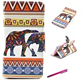 Note 4 Case, JCmax[Card Holder] [Magnetic Closure][Kickstand] Premium Flip Slim Side PU Leather Wallet Case Cover and Card Slots for Samsung Galaxy Note 4 -[ Elephant Pattern ]