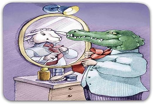 Alfombrilla de puerta delantera de dibujos animados, un cocodrilo ...