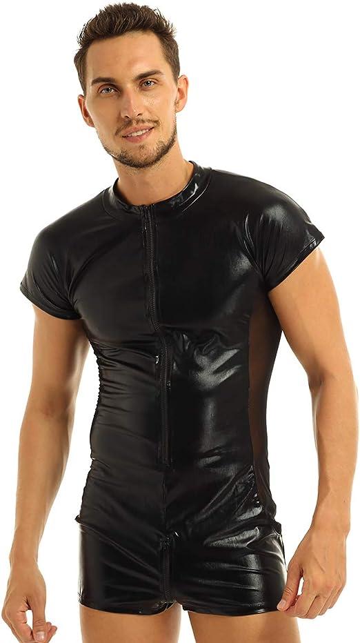 Men Black Wetlook Front Zipper Catsuit Bodysuit Jumpsuit Clubwear Costume Pants