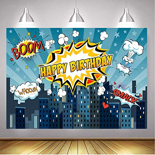 (GYA 7x5FT Super City Hero Baby Shower Photography Backdrop Birthday Party Photography Background Super Hero Party Decorations)
