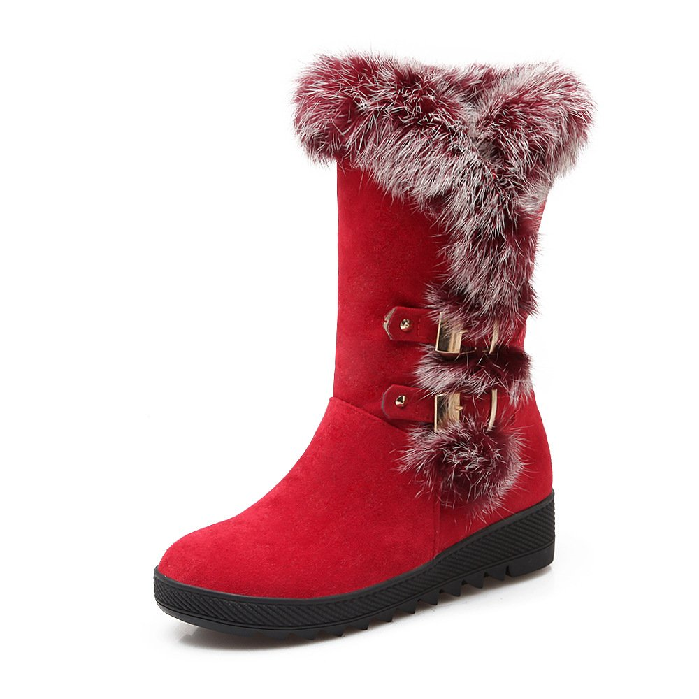 DYF Frauen Schuhe Kurze Stiefel Dicken Boden Heel Warm Gürtelschnalle Rot 38