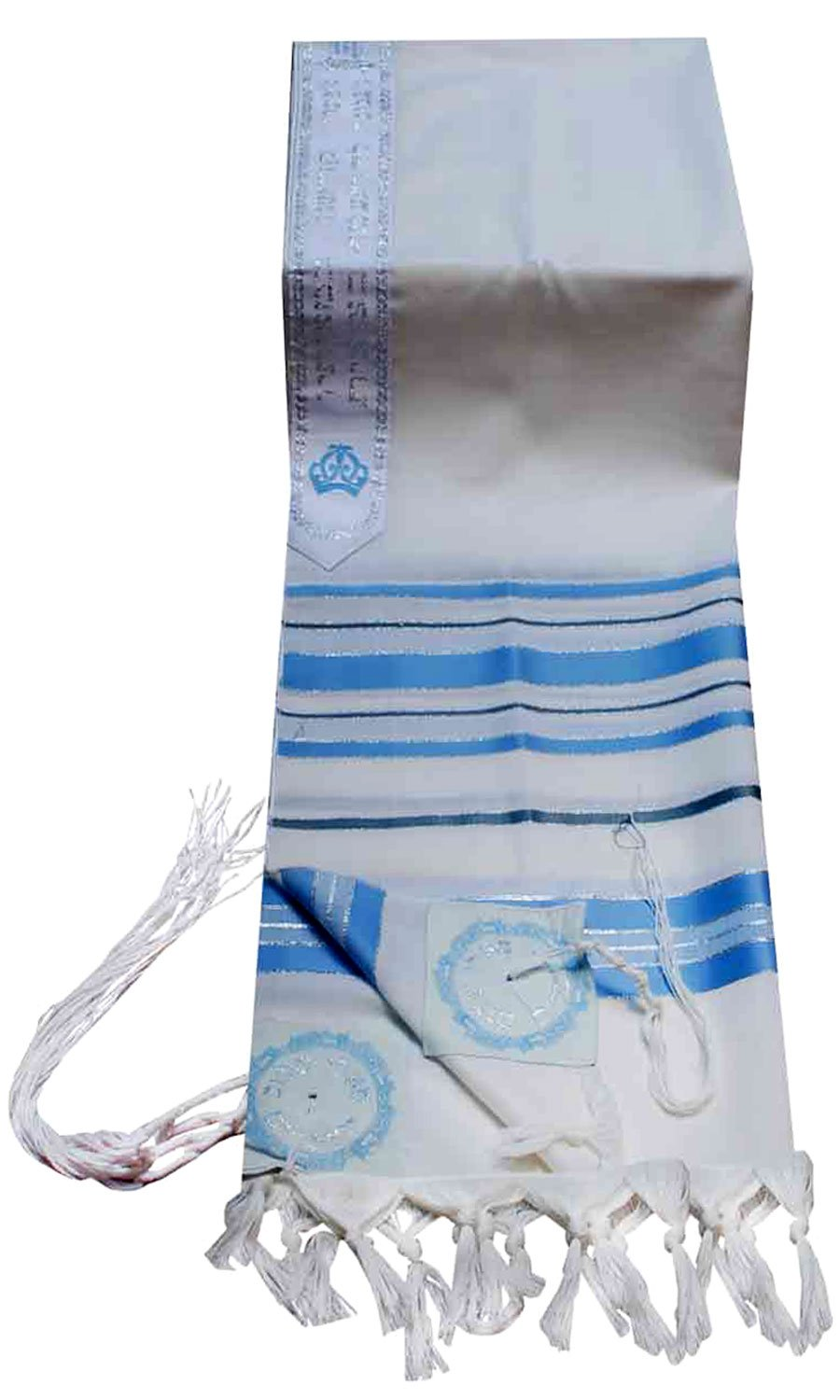 Talitnia Virgin Wool Tallit Prayer Shawl Turquoise, Silver, and Grey Stripes in Size 55'' Long and 75'' Wide