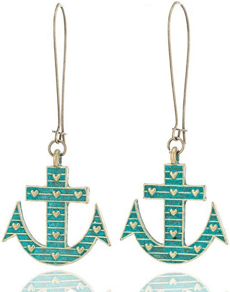 Pair Turquoise Cross Shaped Pendant Dangling Fish Hook Earrings for Lady