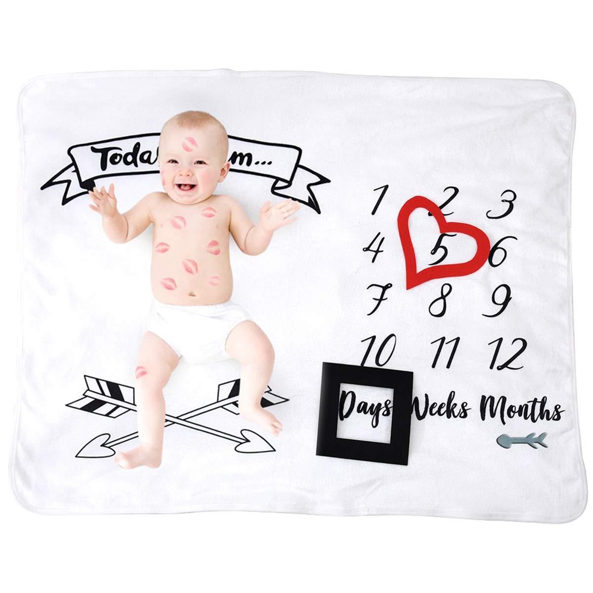 puseky Beb/é Mensual Hito manta envoltura envoltura suave franela reci/én nacido accesorios de fotograf/ía manta tel/ón de fondo
