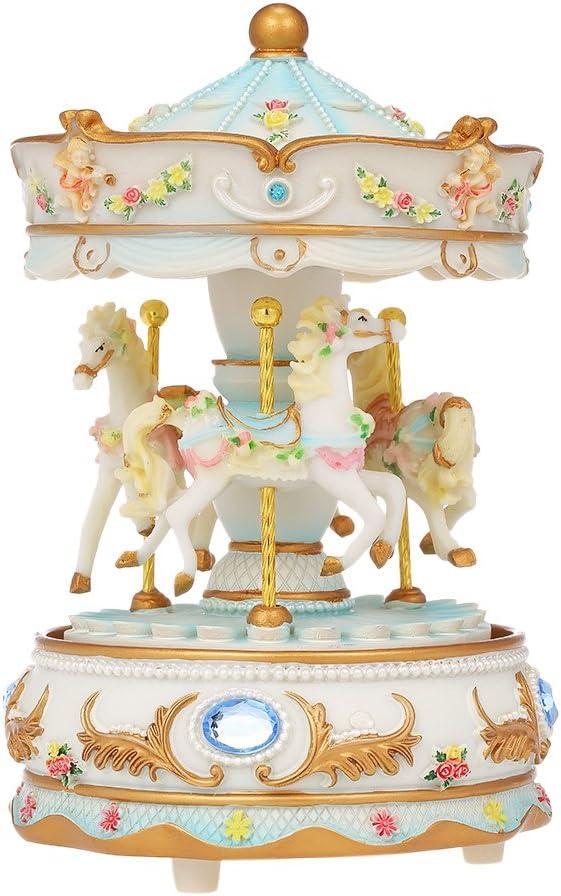 Docooler Mini Carousel Clockwork Music Box Colorful LED Merry-go-Round Musical Box Gift for Girlfriend Kids Children Christmas Festival