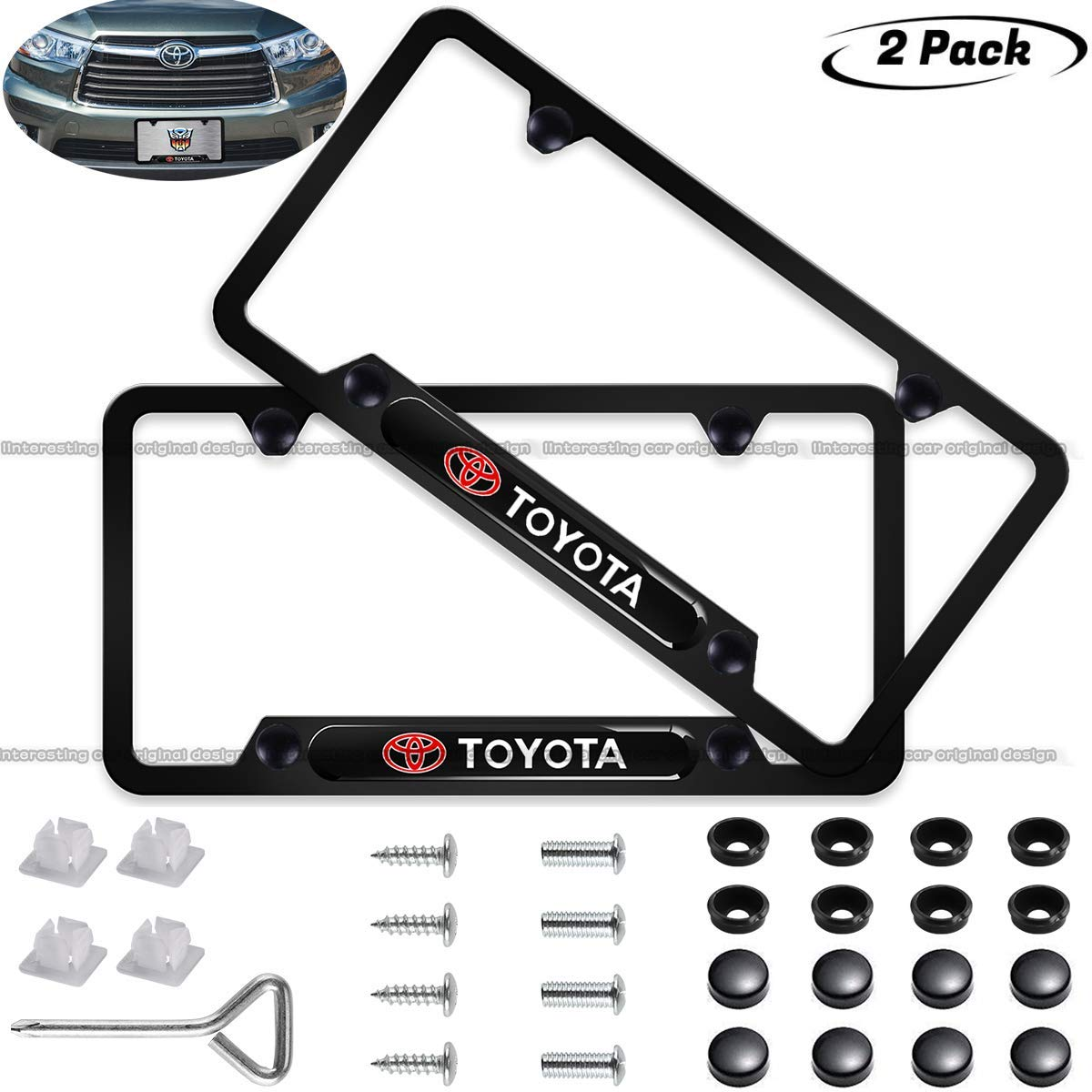 2pcs for Honda front and Rear License Plate Frames,Exclusively Newest Design Matte Aluminum Alloy License Plate Frame for Honda,Personalize and Decorate Your Honda License Plate Cover Screw Caps Included