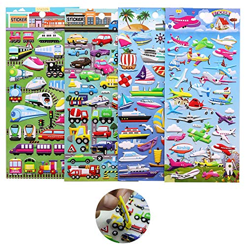 3D Puffy Stickers,ForTomorrow Kids Cars and Trucks Stickers Party Supplies Pack,PVC Transportation Stickers/Bulk Stickers for Boy/Girl Birthday Gift,Teachers,Including Cars,Tr(PVC Foam Cars Stickers) -
