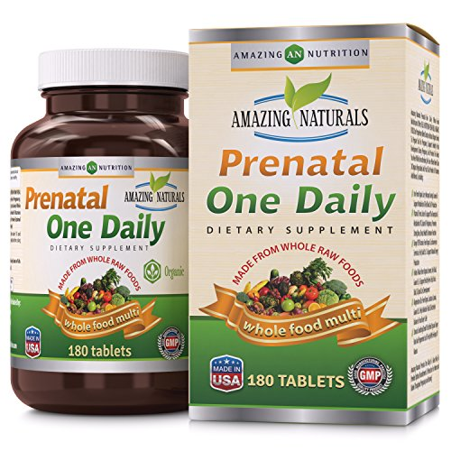 Multivitamin 180 Tabs Naturally Vitamins (Amazing Naturals PRENATAL ONE DAILY Multivitamin with Floic Acid * Best Raw, Whole Food Multivitamins For New Moms and Moms-to-be * 180 Tablets Per Bottle * Packed With The Goodness Of Over !!)