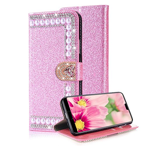 (Aearl Huawei P20 Pro Diamond Wallet Case Women Huawei P20 Pro Shiny Pink Cover,Luxury Fashion Glitter Sparkle Bling Crystal Rhinestone Jewel Love Heart Buckle Closure Card Holder Leather Case)