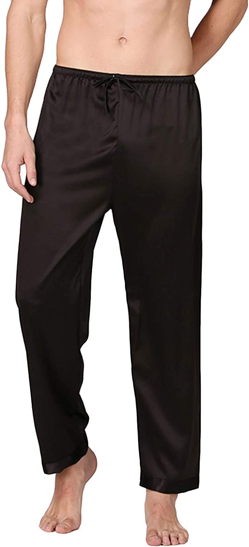 Lu's Chic Men's Satin Pajama Pants Sleep Soft Long Classic Pajama Bottoms Solid Lounging Pants