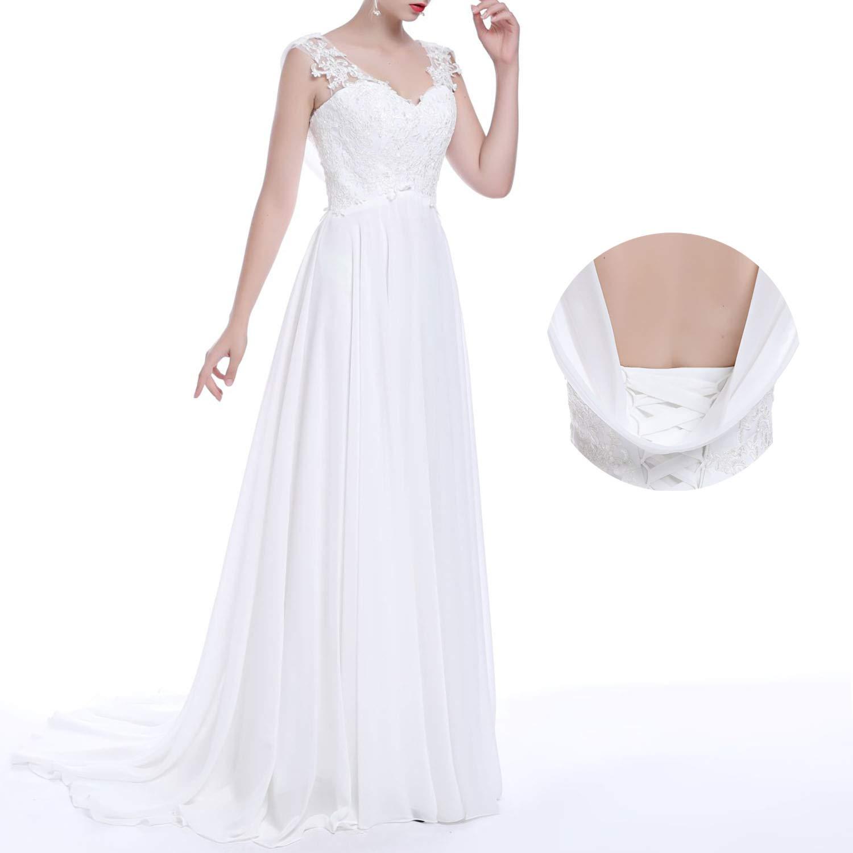 UWedding Lace Wedding Dress V Neck Bride Dresses Bandage Bridal Dresses Appliques Straps Simple Wedding Gown (White Wedding Dress)