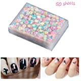 Adeeing 50 Sheets 3D Nail Art Stickers DIY Manicure Decal Decorations Self Adhesive for Girls Women (Multicolour)