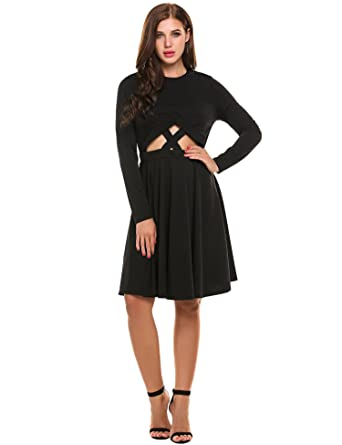 69b5693aaa9 Meaneor Women Hollow Out Club Dress Long Sleeve Pleated Dresses(Black
