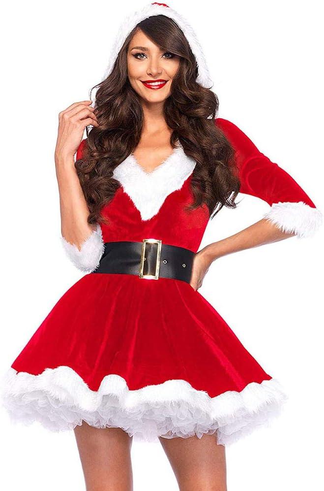 GzxLaY Mini Vestido para Mujer, Ropa de Dormir, Vestido de Navidad, Disfraz con cinturón, Manga Larga, Vestidos envolventes de Papá Noel, cinturón,A,M