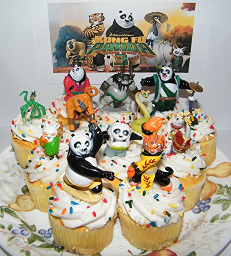 Dreamworks Kung Fu Panda 3 Figure Set of 13 Deluxe Mini Cake Toppers Cupcake Decorations Featuring Po, The Furious 5 and New Characters