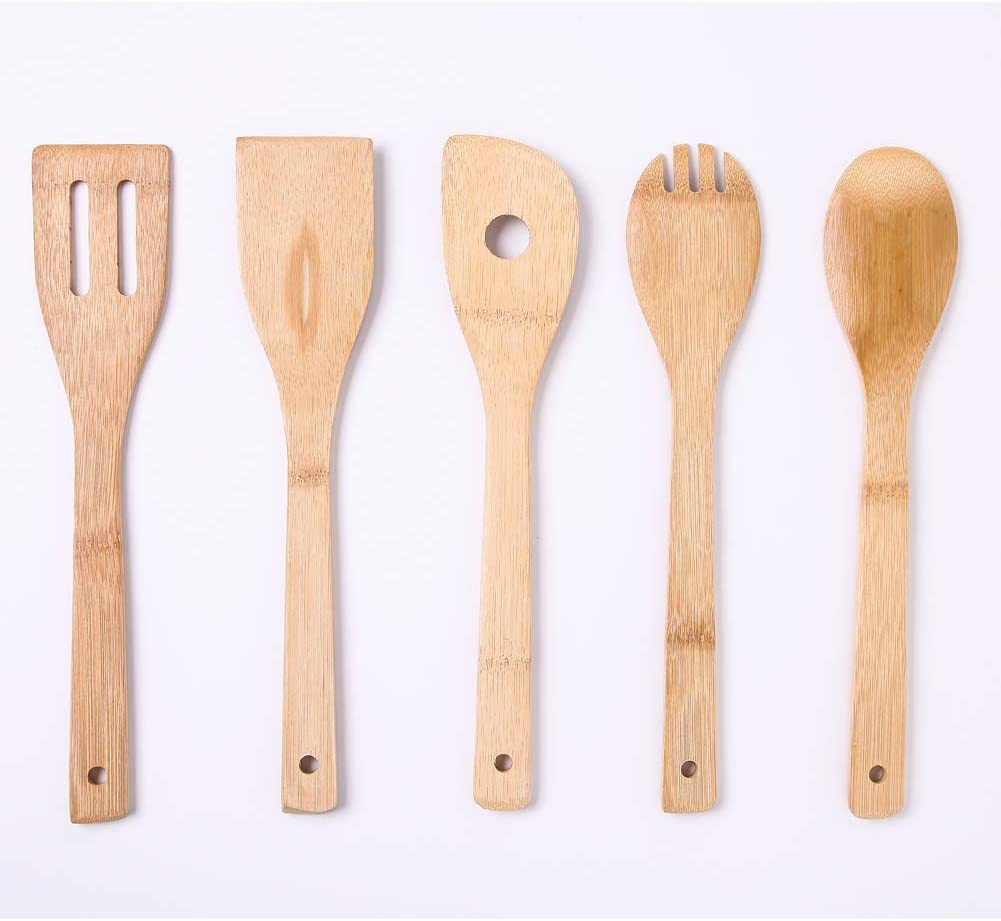 5 Pieces Bamboo Wooden Cooking Spoon Kitchen Spatula Cookware for Non-Stick Pans Best Valentines Day Gifts for Wife Girlfriend Monther Folwer and Heart Printed Kitchen Utensils Set